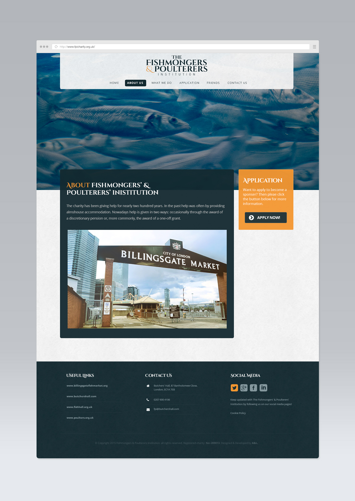 Fishmongers' & Poulterers' Institution, Website Development