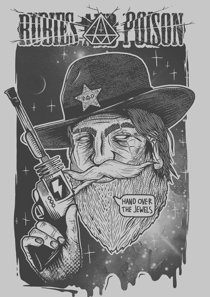 Rubies & Poison Space Cowboy Illustration by Daniel Sawyer Merch Design – Print Design